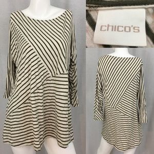 Sz Large Chico's 2 Diagonal Striped 3/4 Sleeve Top